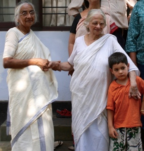 my aunts (both dec.) wearing the traditional Kerala mundu veshti